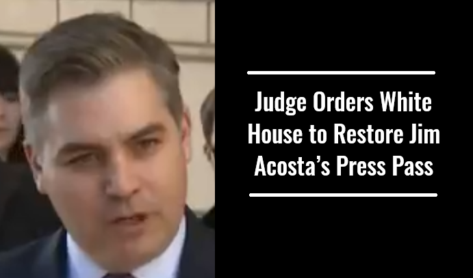 Judge Orders White House to Restore Jim Acosta's Press Pass