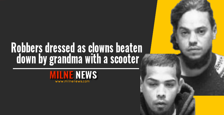 Robbers dressed as clowns beaten down by grandma with a scooter
