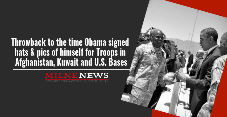 Throwback to the time Obama signed hats & pics of himself for Troops in Afghanistan, Kuwait and U.S. Bases