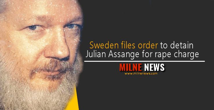 Sweden files order to detain Julian Assange for rape charge