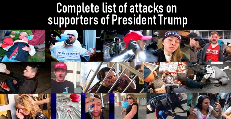 Complete list of attacks on supporters of President Trump