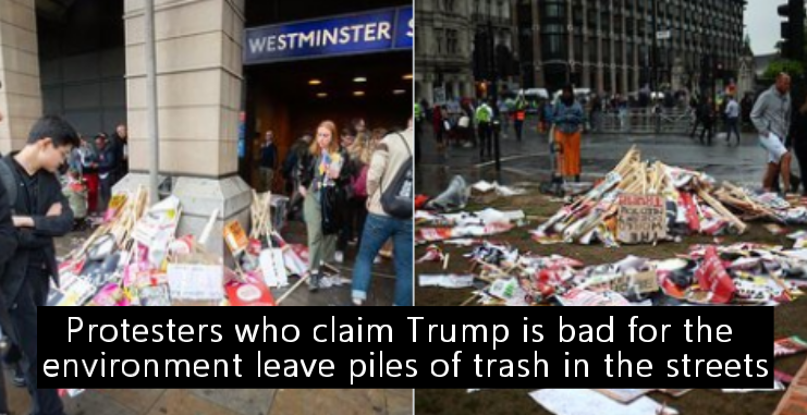 Protesters who claim Trump is bad for the environment leave piles of trash in the streets