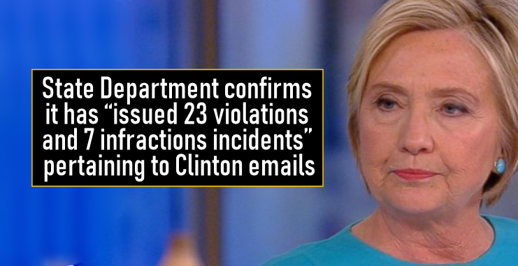 "State Department confirms it has ""issued 23 violations and 7 infractions incidents"" pertaining to Clinton emails"