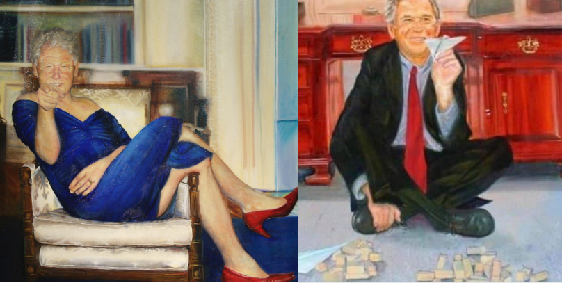 The Story Behind That Bizarre Painting Of Bill Clinton In